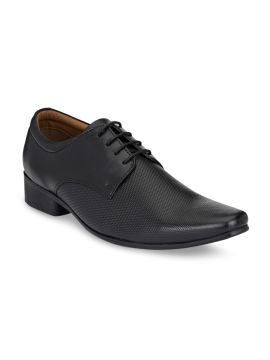 Black Textured Leather Formal Derbys