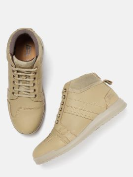 Khaki Leather Mid-Top Sneakers