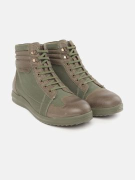 Olive Green & Brown Colourblocked Mid-Top Flat Boots