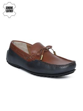 Brown & Navy Blue Colourblocked Genuine Leather Boat Shoes