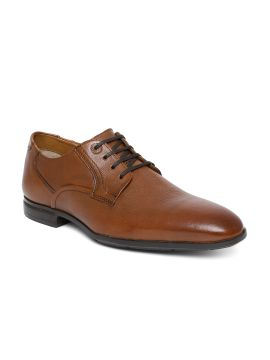 Tan Brown CAMEROON Solid Leather Formal Derbys