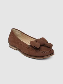 Brown Solid Suede Loafers