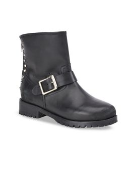 Black Solid Leather Heeled Boots