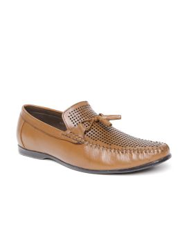 Tan Brown Cut-Out Leather Loafers