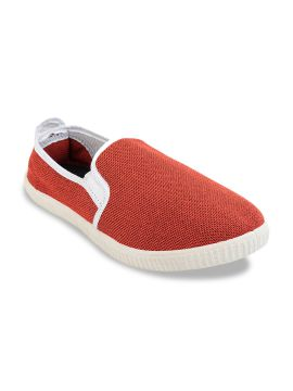 Red Solid Slip-On Sneakers