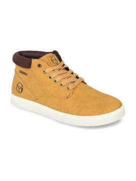 Tan Brown Solid Synthetic Leather Mid-Top Sneakers