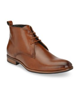 Tan Brown Solid Mid-Top Flat Boots