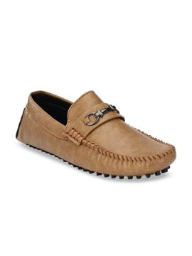 Beige Solid Driving Shoes