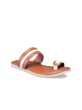 Tan Brown & White Colourblocked One Toe Flats