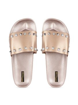 Copper-Toned Embellished Sliders