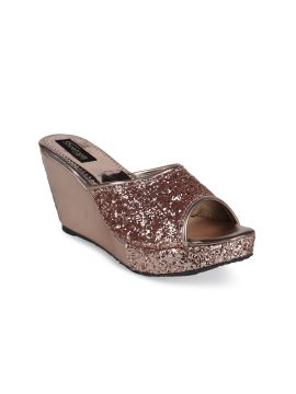 Copper-Toned Embellished Solid Sandals