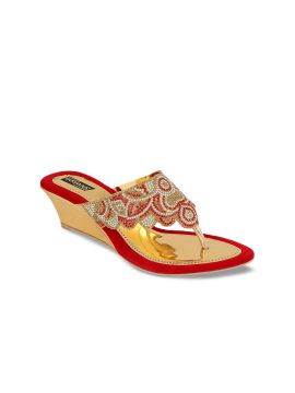 Red Solid Sandals