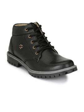 Black Solid Mid-Top Boots