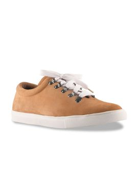 Tan Brown Solid Leather Sneakers