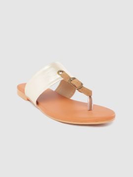 Gold-Toned & Brown Colourblocked T-Strap Flats