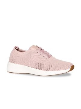 Pink Woven Design Knitted Mid-Top Sneakers