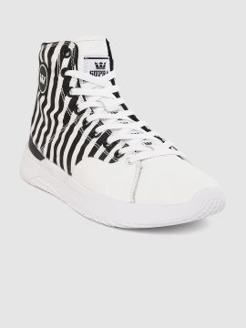 White & Black STATIK Striped Mid-Top Sneakers
