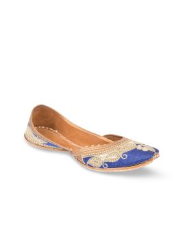 Blue Embroidered Handcrafted Juttis