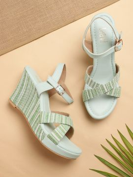 Mint Green Self-Striped Wedges