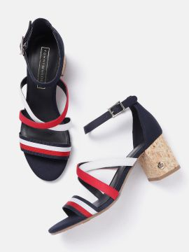 Red & Navy Blue Striped Block Heels