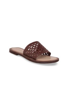 Coffee Brown Woven Design Leather Open Toe Flats