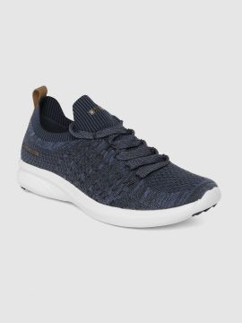 Navy Blue Textile Walking Shoes