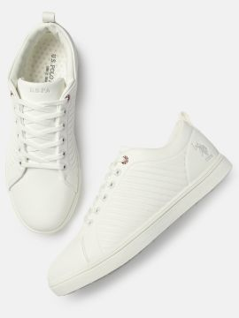White Solid ZETH Sneakers
