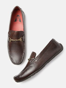 Brown Textured Siena Leather Loafers