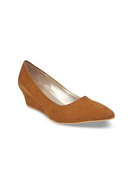 Tan Brown Solid Suede Pumps