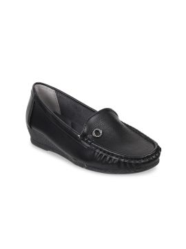Black Solid Heeled Loafers