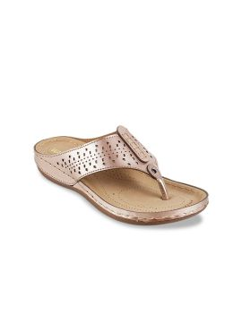 Rose Gold Solid T-Strap Flats