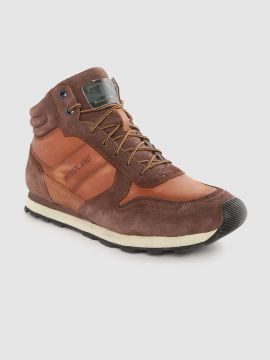 Brown Colourblocked Leather Mid-Top Sneakers