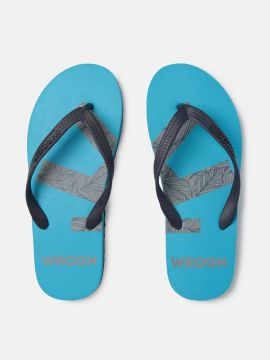 Navy Blue Printed Thong Flip-Flops