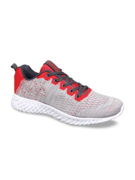Grey & Red Running Shoes