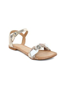 Muted Gold-Toned & Beige Solid Leather Open Toe Flats