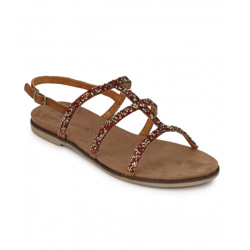 WOMEN COGNAC GEMSTONE SANDAL